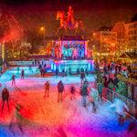 Eislaufen bei Nacht am Heumarkt, Köln