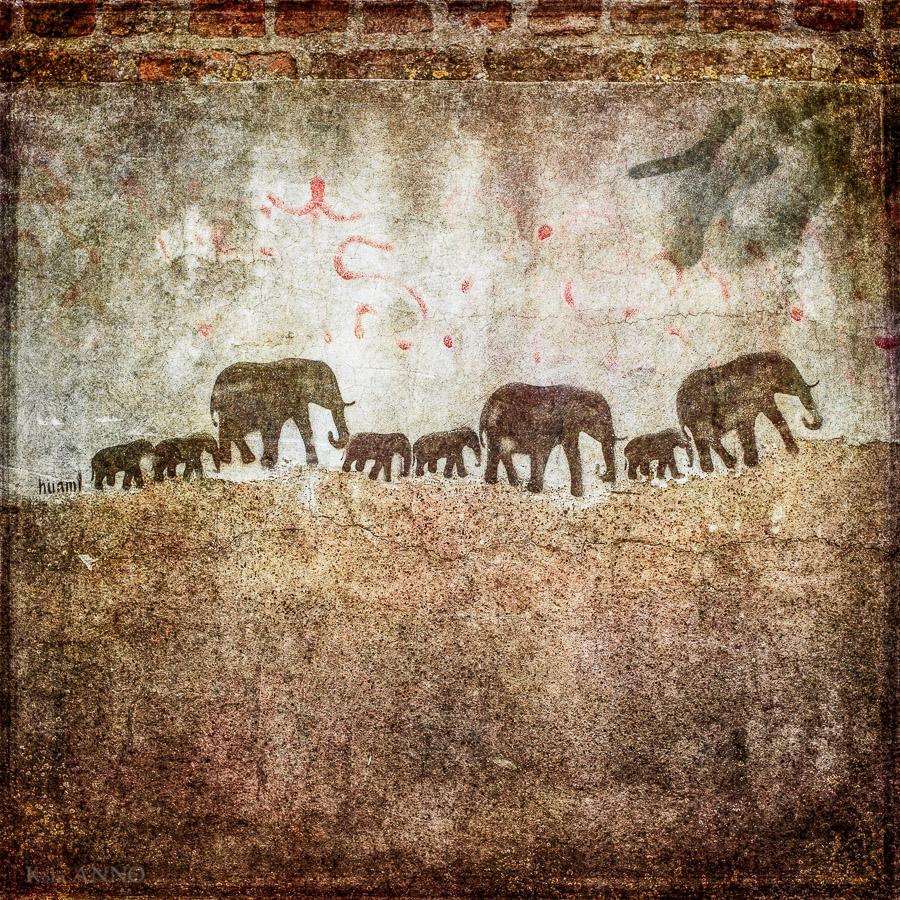 Graffiti einer Elefantenfamilie