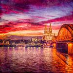 Kölner Abendrot III, Dom, Rhein, Hohenzollernbrücke, Nacht, Himmel