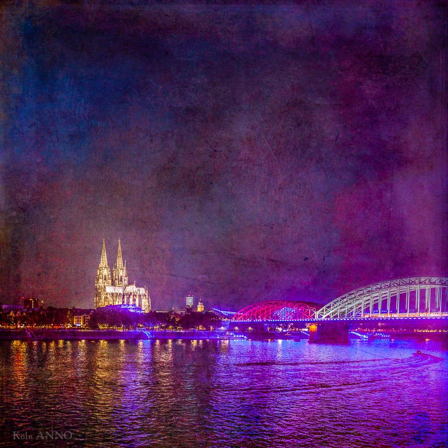 Der Dom und die Hohenzollernbrücke, Dom, Hohenzollernbrücke, Nacht, Himmel